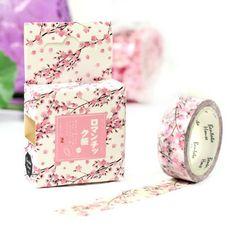 Pink Cherry Blossom Flower Washi Masking Tape by SusieBsupplies