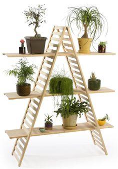 Wooden Retail Shelving Unit with 3 Shelves, A-Frame Design - Pine Wood Ladder Shelf Diy, Frame Shelf, Diy Hanging Shelves, Plant Shelves, Wood Shelves, Hanging Baskets, A Frame Bookshelf, Hanging Plants, Wood Crate Diy