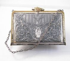 1920's silver and brass floral repoussee purse