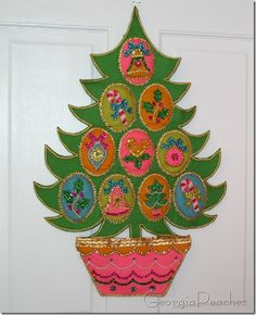 Vintage felt/sequin Christmas tree...I was super lucky to have found this exact wall hanging already made thrifting years ago!