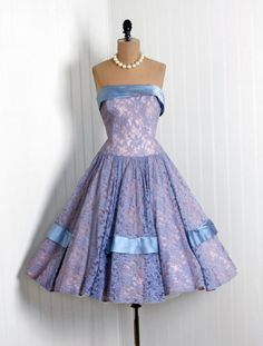 1950's Vintage Baby-Blue Lace & Light-Pink Taffeta Couture Party Dress