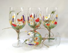 Wine Glasses Hand Painted Wine Glasses Keepsake Gift by HiMaria $54.00