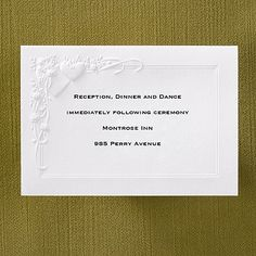 Embossed Hearts and Roses - Reception Card weddingneeds.carlsoncraft.com