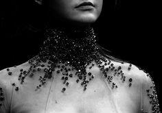 Black embellishment on sheer