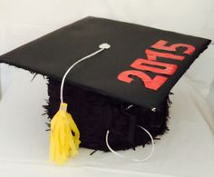 Large Graduation Hat Piñata, Black and Red