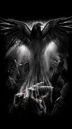 New Ideas Wallpaper Dark Skull Fantasy Crow Art, Raven Art, Dark Gothic Art, Dark Fantasy Art, Raven Tattoo, Dark Tattoo, Arte Horror, Horror Art, Funny Horror