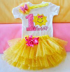 Glitter Gold Sunshine birthday outfitGirls Sunshine by KidsFunLand
