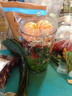 Spinach kale flax-hemp-goji, dried cherry, sunflower seed, mandarin orange smoothie #nutribullet #nutriblast