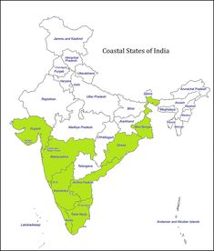 Gujarat has longest coastal length of Indian states. 9 states, 4 Union Territories are on sea shore. Andhra has longest coastal length, Tamil Nadu Geography Map, Teaching Geography, Gernal Knowledge, General Knowledge Facts, Indian River Map, India World Map, Upsc Civil Services, Asia Map, India Facts