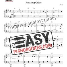 Amazing Grace – a solo piano score with chord symbols. This is one of the most famous Christian hymns. Piano Sheet Music Pdf, John Newton, Piano Score, New Britain, Amazing Grace, As You Like, 18th Century, Psalms, Verses