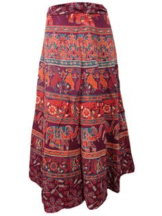 Womens Maroon Skirt Cotton Ethnic Printed Wrap Around Skirts  #skirt #skirts #wrapskirt #bohoskirt #cottonskirt #sale #gift #giftforher #fashion #longskirt #ethnicskirt