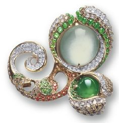An icy jadeite and diamond brooch by Violetto.