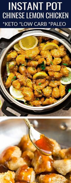 Instant Pot Chinese Lemon Chicken - perfect easy pressure cooker recipe of the classic Asian Takeout-dish made healthier, low carb, keto & paleo friendly. Paleo Menu, Paleo Recipes Easy, Best Chicken Recipes, Whole 30 Recipes, Asian Recipes, Diet Recipes, Paleo Dinner, Dessert Recipes, Zoodle Recipes