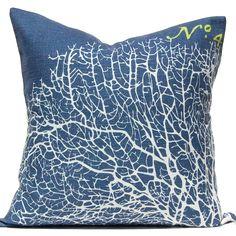 Navy Ocean Sea Fan Luxury Pillow