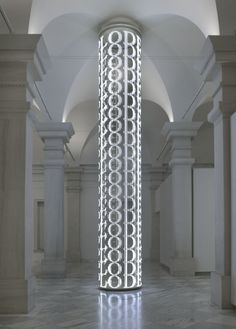 For SAAM by Jenny Holzer / American Art Museum Sixty-two hundred LED lights bring words alive in this sculpture created for the museum. The words are programmed to swirl and travel around the body of the piece, varying in size and direction. Jüdisches Museum, Jenny Holzer, Column Design, Digital Signage, Light Installation, Art Plastique, Light Art, Art And Architecture, American Art