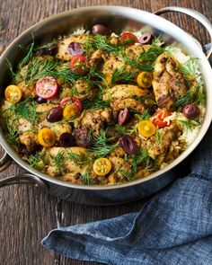 Mediterranean Skillet Chicken and Rice Recipe Turkey Dishes, Turkey Recipes, Rice Recipes, Chicken Recipes, Healthy Recipes, Recipies, Mediterranean Vegetarian Recipes, Mediterranean Diet, Pollo Recipe
