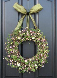 Spring Wreath  Front Door Wreath  Celebrating by twoinspireyou, $65.00