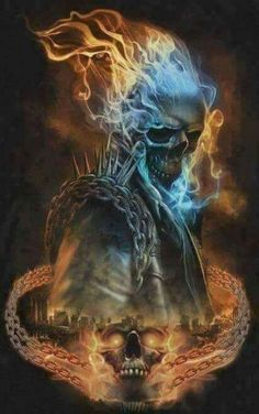 Ghost Rider Power Shirt- Look into my eyes, your soul is stained by the blood of the innocent. Feel their pain! Ghost Rider Wallpaper, Skull Wallpaper, Screen Wallpaper, Arte Horror, Horror Art, Dark Fantasy Art, Dark Art, Ghost Rider Images, Ghost Rider Videos