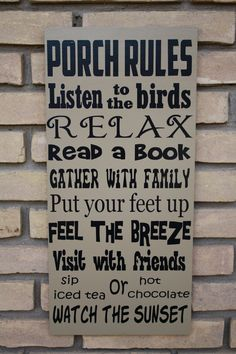 Porch Rules Sign - Handmade in USA Wood Subway Art Sign Typography.... $38.00, via Etsy.