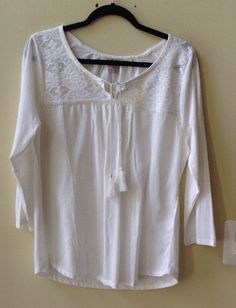 NWT LUCKY BRAND WOMEN'S SOLID IVORY COTTON/MODAL 3/4 SLEEVE BLOUSE SIZE M #LuckyBrand #Blouse