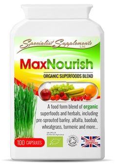 Wholesale organic superfoods blend in capsules: MaxNourish by Specialist Supplements Ltd (wholesale supplements supplier and dropshipper). Private label available. Soil Association and EU organic certified. UK-made. Click to find out more about resale...