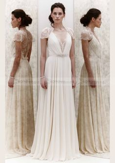 A-Line Cap Sleeve V-Neck Beaded Pleated Button Back Sweep Trailing Wedding Dresses