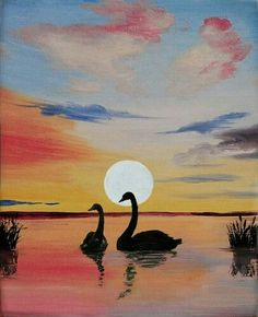 Learn to Paint Swans and Cattails tonight at Paint Nite! Our artists know exactly how to teach painters of all levels - give it a try! Easy Paintings, Landscape Paintings, Learn To Paint, Art Sketchbook, Painting & Drawing, Swan Painting, Lake Painting, Painting Inspiration, Art Lessons
