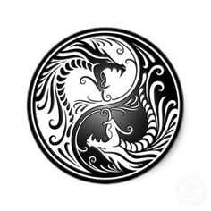 Shop White and Black Yin Yang Dragons Classic Round Sticker created by UniqueYinYangs. Personalize it with photos & text or purchase as is! Yin Yang Tattoos, Tatuajes Yin Yang, Tribal Tattoos, Dragon Yin Yang Tattoo, Celtic Dragon Tattoos, Black Dragon Tattoo, Geometric Tattoos, Yen Yang, Ying Y Yang