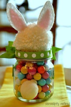 Fluffy Easter Bunny Candy Filled Mason Jar Tutorial. Easter gift ideas - DIY idea for adults and children to make. Easy to follow projects for painting mason jars, filling them with Easter eggs, chocolates and sweets. Great as homemade gifts for teachers, parents and children. #Easter #EasterEggs #EasterCrafts #MasonJars #MasonJarCrafts