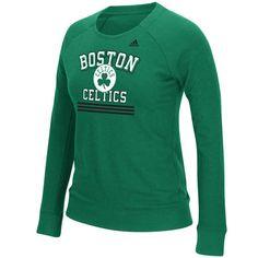 Boston Celtics adidas Women's True Stripes French Terry Crew Fleece - Kelly Green