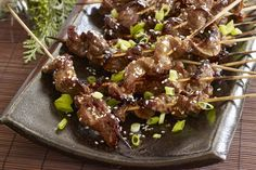 Turn a sirloin steak into an entrée for four with our Caramelized-Beef Skewers recipe. Glazed with a balsamic-Dijon barbecue sauce, these grilled sirloin steak skewers are perfect for summer entertaining or a weeknight barbecue. Skewer Recipes, Sauce Recipes, Appetizer Recipes, Beef Recipes, Cooking Recipes, What's Cooking, Beef Meals, Kraft Foods, Kraft Recipes