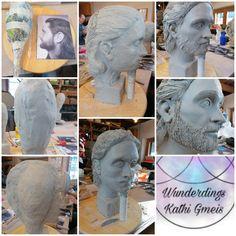 Ton Portrait, Clay portrait, handmade by Kathi Gmeis - Wunderdings Clay, Sculpture, Statue, Portrait, Handmade, Crafts, Do Crafts, Clays, Hand Made