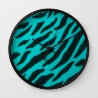 Aqua Zebra Print Wall Clock by TheseRmyDesigns
