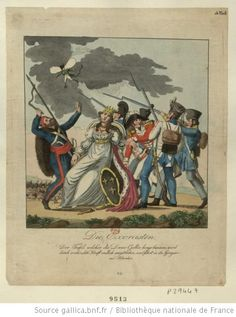 Die Exorcisten (The exorcists) by E.T.A. Hoffman, probably late 1813-early 1814. An Austrian, a Prussian, a Saxon and a Russian soldier (on the left) help exorcize France, represented by a woman, of Napoleon, portrayed as a little winged devil. An English soldier is taking her pulse.