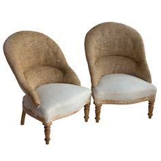 Pair Vintage French Ladies Tub Chairs