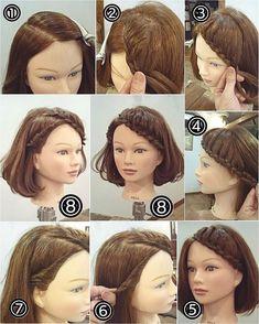 """210 Likes, 2 Comments - nest hairsalon (@nest_hairsalon) on Instagram: """"【再投稿】 先ほどの投稿の作り方です! 前髪片編みアレンジ ① 髪を分けます。生え際は6→後ろは8 くらいで斜めに。 ② トップ近くから片編み込みをしていきます。 ③…"""""""