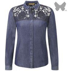 BOSS Orange Ladies' Croad Denim Look Blouse Dark Blue (445 RON) ❤ liked on Polyvore featuring tops, blouses, shirts, transparent shirt, sheer shirt, sheer floral blouse, shirt blouse and floral denim shirt