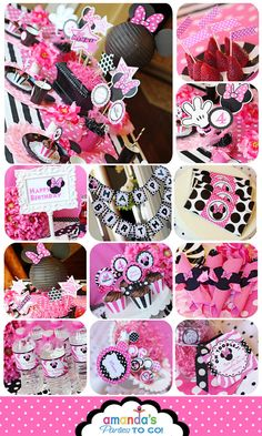 Minnie Mouse Party - Birthday Party Inspired by Minnie Mouse - Zebra - HUGE Printable Set by Amanda's Parties TO GO. $29.00, via Etsy.