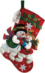 Amazon.com: Bucilla 18-Inch Christmas Stocking Felt Applique Kit, Snowflake Snuggle: Arts, Crafts & Sewing