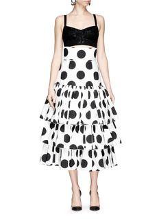 DOLCE & GABBANAPaint effect polka dot high waist tier skirt