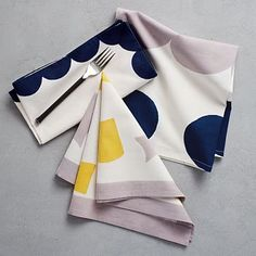 4 pattern options of Hand-Blocked Geo Napkins (Set of 4, all matching). Mix and match these 20inch square dinner napkins. The hand-blocked shapes add a playful touch to these 100% cotton napkins. Click through and shop at westelm.com