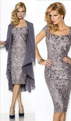 2016 Mother Of The Bride Dresses Sheath Cap Sleeves Gray Chiffon Lace With Jacket Mother Dresses Evening Dresses For Weddings