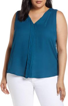 Plus Size Women's Bobeau Alison Pleat Front Mixed Media Top, Size - Blue Plus Size Work, Brand It, The Chic, Everyday Look, V Neck Tops, Mixed Media, Nordstrom, Clothes, Shopping