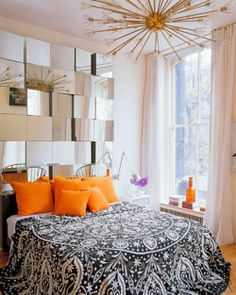 From the editors of ELLE Decor, mirrors are an easy way to reflect the beauty of a room& inspiring ways to use them to decorate your home. Dream Bedroom, Home Bedroom, Bedroom Decor, Bedroom Ideas, Bedroom Colors, Ivory Bedroom, 60s Bedroom, Glamour Bedroom, Pretty Bedroom