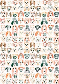 A4-Hund-Muster-Print von emilynelsonart auf Etsy