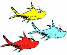 36 Dr. Seuss Fish Cut-Outs- Easy Suess Birthday Party or Baby Shower Decorations