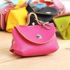 42769024059d Free Shipping Fashion Colorful Women PU Leather Coin Purse Mini Key Bag  Ornaments Charm 9 Colors