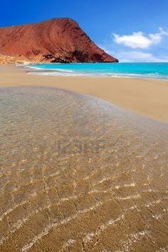 Playa Playa de la Tejita turquesa en las islas Canarias de Tenerife   Canarias  Spain