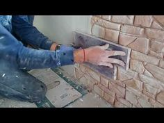Concrete stamp Kremona making, track by Foolloop Fake Brick Wall, Faux Stone Walls, Faux Brick, Brick And Stone, Diy Stamped Concrete, Concrete Wall, Concrete Stamping, Bedroom Wall Units, Secret Walls
