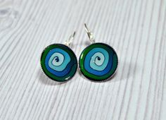 Blue Turquoise green  polymer design silver plated by NuritNaor, $17.00